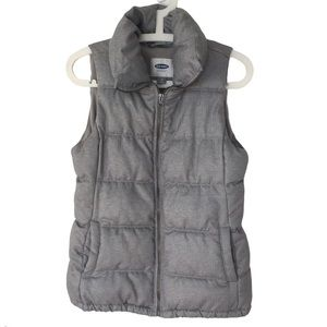 OLD NAVY Grey Herringbone Puffy High Neck Vest XS